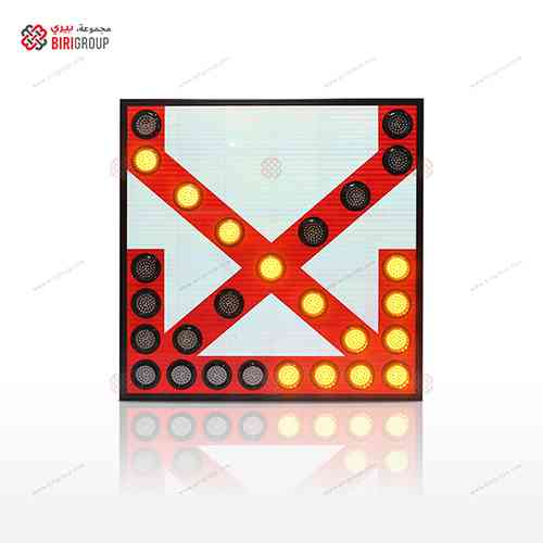 Warning LED Sign X With 2 Arrows