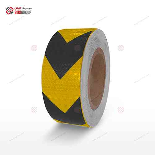 PVC Golden Yellow&black Arrow 5cmX25Y