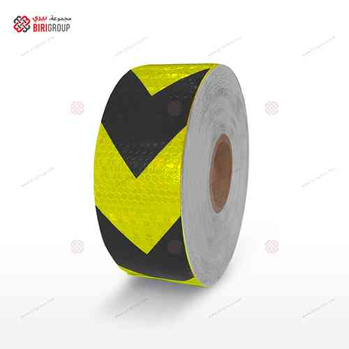 PVC F.Yellow & Black Aroow 5cm X 50Y