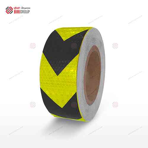 PVC F.Yellow & Black Aroow 5cm X 25Y