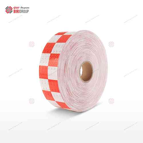 PVC White & Red Squre 5cm X 50Y