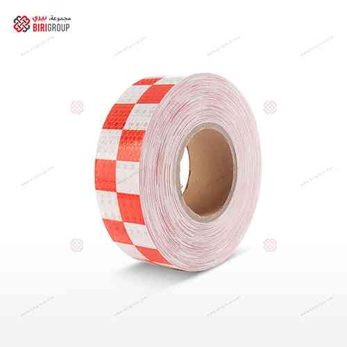 PVC White & Red Squre 5cm X 25Y