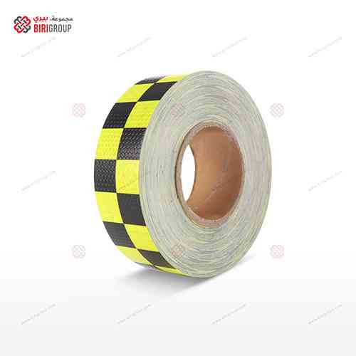 PVC F.yellow & Black Square 5cmX25Y