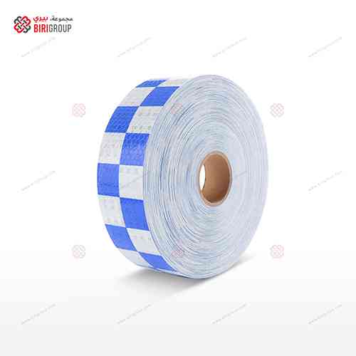 PVC White & Blue Square 5cmX50Y|~~|لاصق عاكس ابيض ازرق مربعات 5سم × 50 يارد