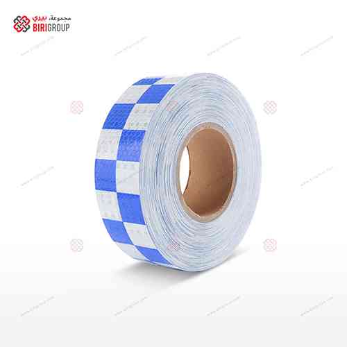 PVC White & Blue Square 5cmX25Y|~~|لاصق عاكس ابيض ازرق مربعات 5سم × 25 يارد