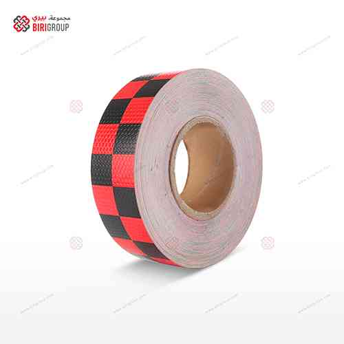 PVC Black & Red Square 5cm X 25Y