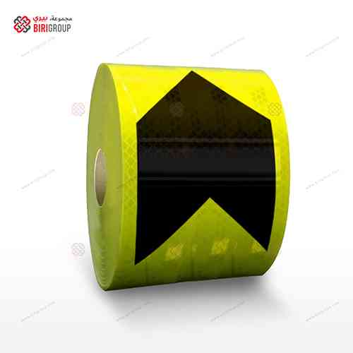 Acrylic F.yellow & Black Arrow 10CMX20M|~~|لاصق عاكس اسهم اسود اصفر 10سم × 20 متر