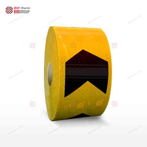 PVC G.Yellow & Black Arrow 7.5cmX20M|~~|لاصق عاكس اسهم شريط اسود اصفر 7.5سم × 20 متر
