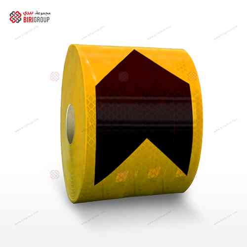 PVC G.Yellow & Black Arrow 10cmX20M|~~|لاصق عاكس اسهم شريط اسود اصفر 10سم × 20 متر