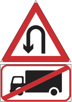 NO U - TURN SIGN FOR TRUCKS 348.1-60