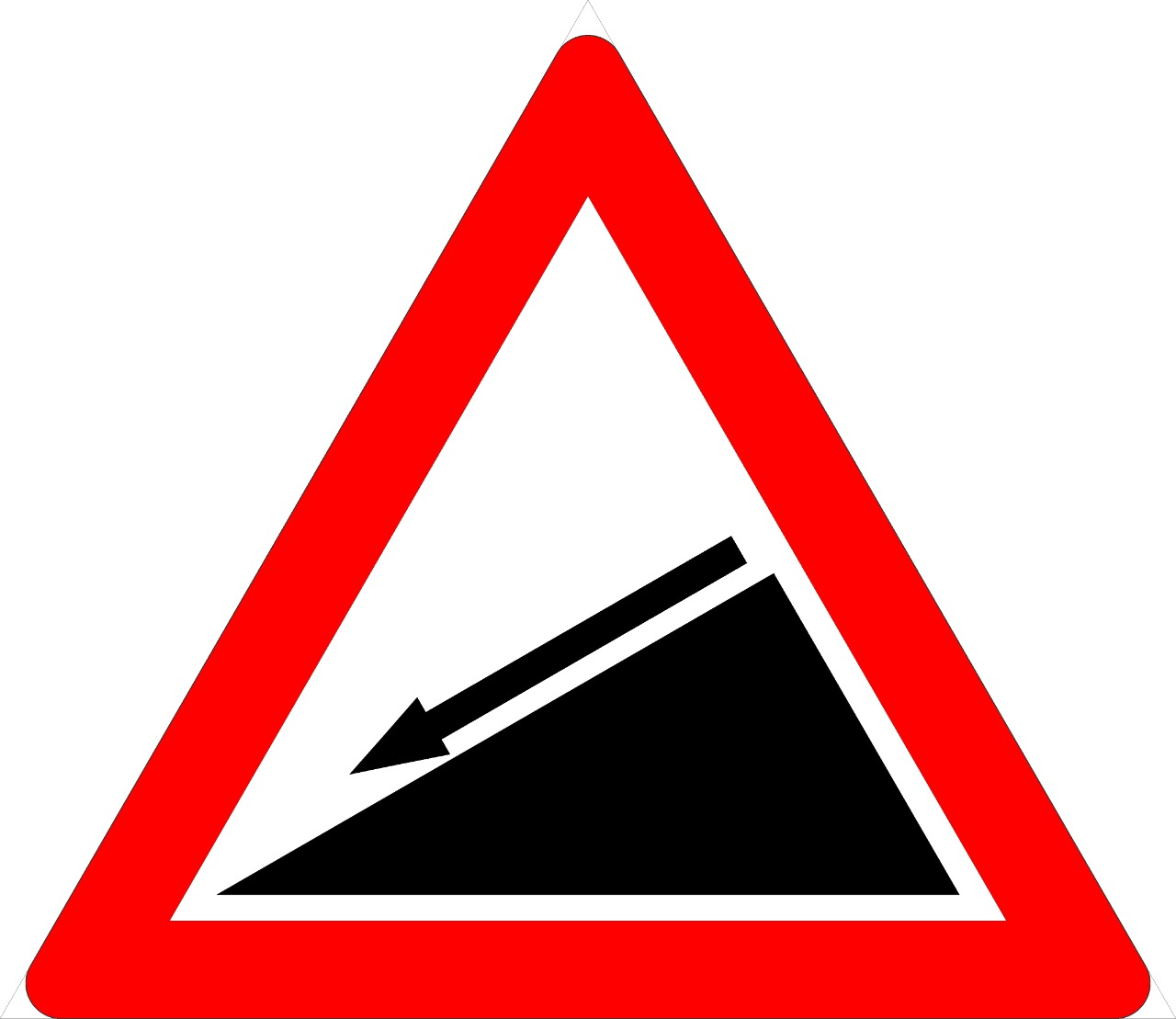 Slope-down Sign 150