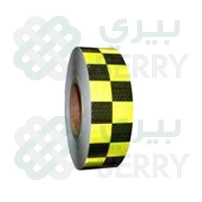 PVC F.yellow & Black Square 5cmX50Y