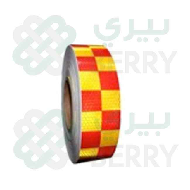 PVC Yellow & Red Square 5cmX50Y