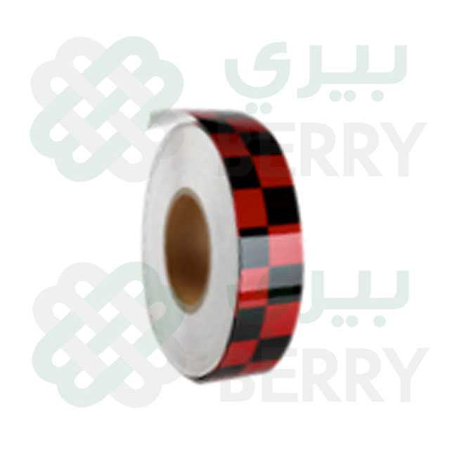 PVC Black & Red Square 5cm X 50Y