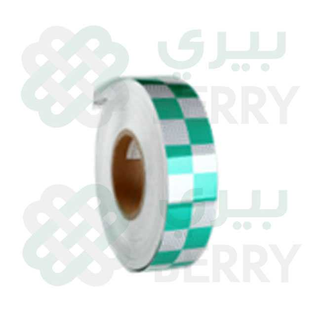 PVC White & Green Square 5cm X 25Y